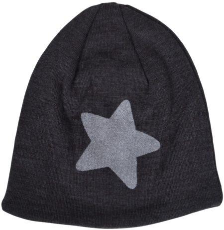 Tumši pelēkā pusvilnas cepure ar zvaigznīti